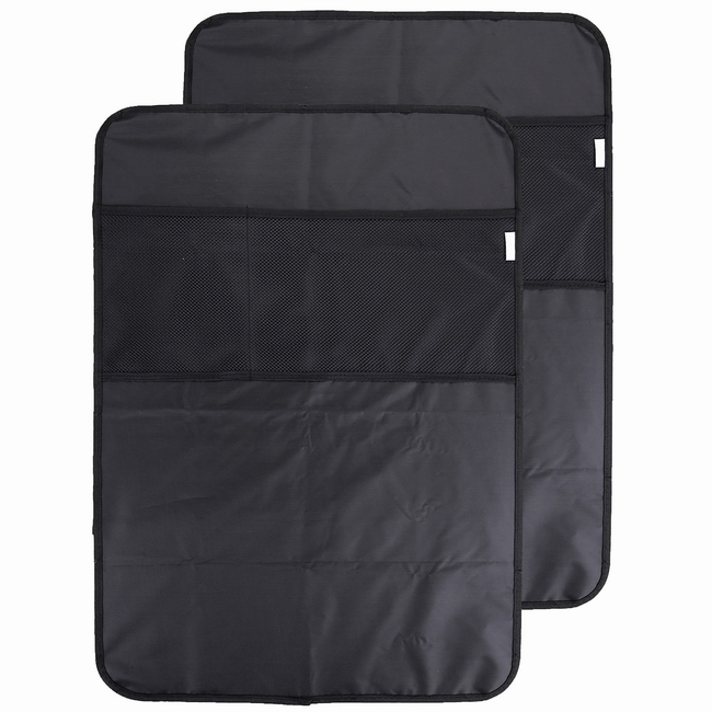 ACBungji Universal Waterproof Font Seat Back Covers Kick Mats Protector With Organizer Pocket 2-Pack For Automotive Car Suv Truck Rear Women Men Boys Girls Kids X-large