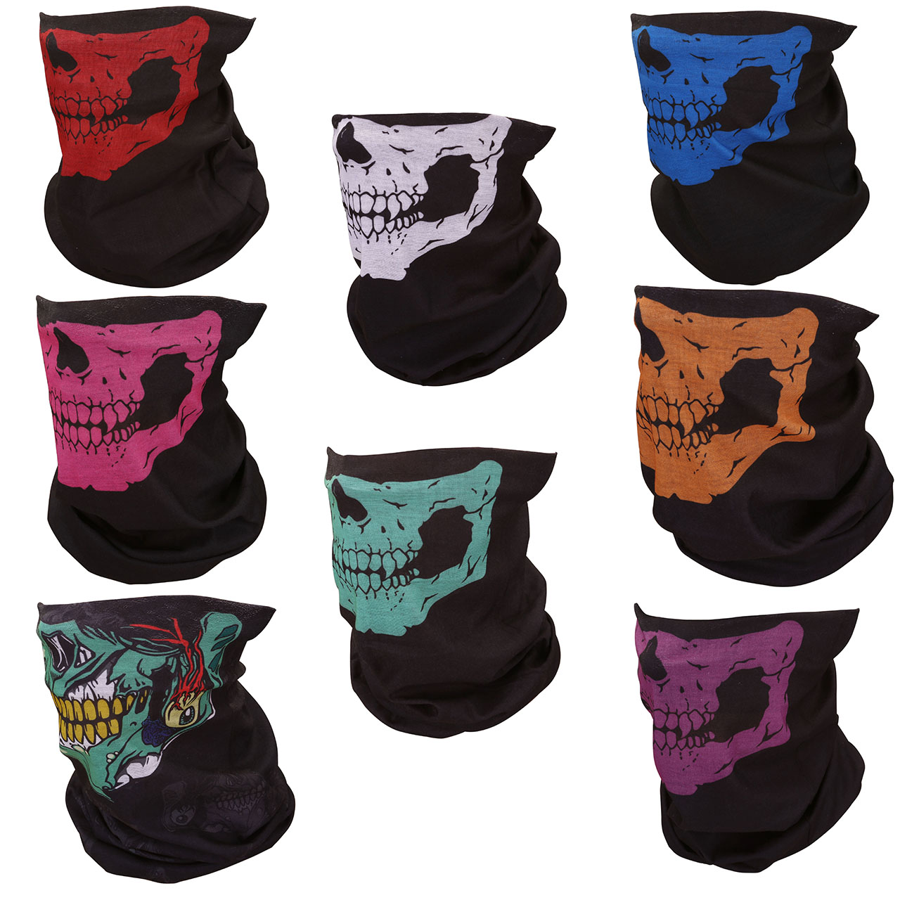 ACBungji Multifunction Magic Motorcycle Outdoor Sport Seamless Skull Tube Half Face Mask Wrap Headband Scarf Pack of 8