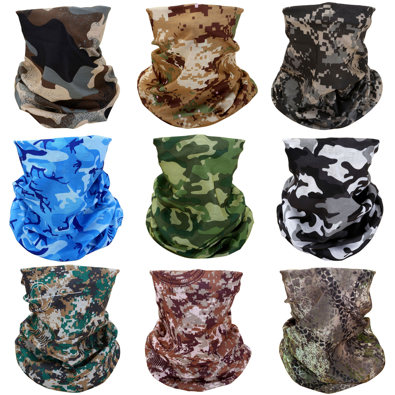 ACBungji 9PCS Magic Motorcycle Outdoor Sport Seamless Tube Half Face Mask Multifunctional Wrap Headband Headwear