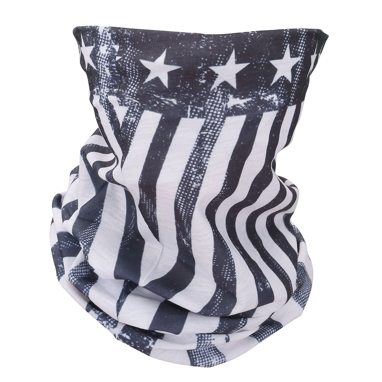 ACBungji The Old Glory US Flag Multifunction Magic Motorcycle Outdoor Sport Seamless Tube Half Face Mask Headband Scarf Black & White